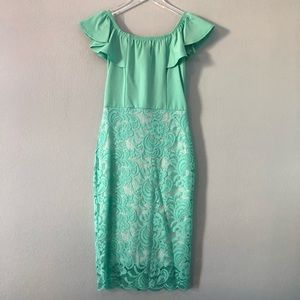 Boutique | teal off the shoulder lace dress